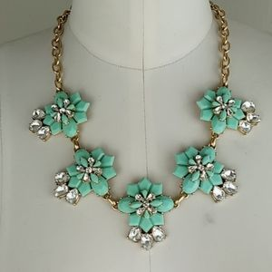 J.Crew Mint Green Crystals Floral Necklace